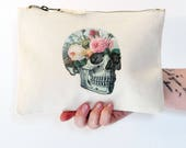 Floral Skull Cosmetic Bag Secret Garden Soft Grunge Cute Make Up Bag