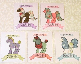 Pony Cards, set of 5, handmade from exclusive designs, matching envelopes included