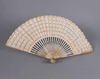 Antique Folding Fan Paper and Wood with Gold Dots and Stars