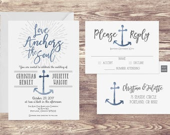 The Love Anchors the Soul Wedding Invitation and Postcard RSVP, Nautical Wedding Invitation, Anchor Wedding Invite, Customized Invitation