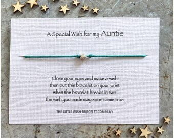 AUNTIE - Wish Bracelet Gift, Aunt, Aunty Add a Name & Custom options
