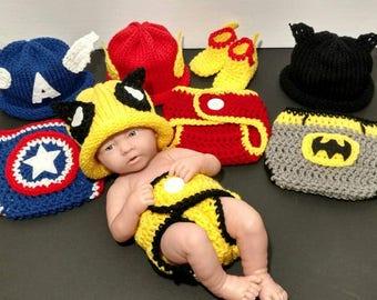 Superhero Baby Captain America Baby Outfit Newborn Wolverine Costume Photo Prop Superhero Baby Crochet Outfit - Full Set Same Price!!!