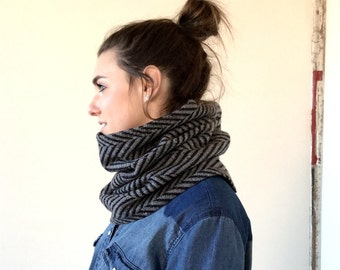 GRAY and black chevron cowl scarf / unisex herringbone infinity scarf