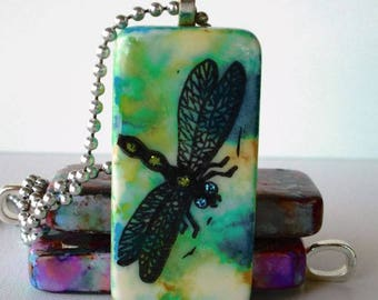 Dragonfly -- Altered Domino Pendant, Hand Painted and Inked