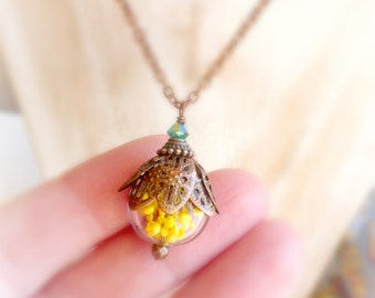 Yellow real flower necklace , Baby breath botanical jewelry , Terrarium plant necklace , Boho copper pendant , Trending now bridesmaids gift