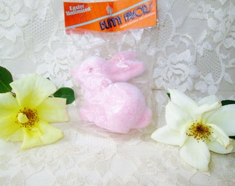 Pink Bunny Rabbit Vintage Flocked Easter Bunny Ornament New Old Stock Easter Decoration Keepsake Ornament Home Decor Collectible Gift Toy