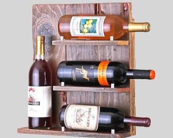 Cedar Wood Wine Rack, Distressed Wine Rack, Reclaimed Wood Wine Rack, Redwood Bottle Rack, Upcycled Wine Rack