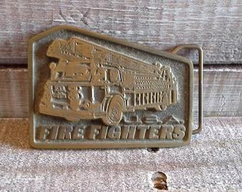 Vintage Brass Fire Fighter Belt Buckle