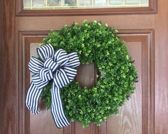 Black and White Boxwood Wreath, Boxwood Wreath with Bow, Artificial Boxwood Wreath, Spring Wreath, Boxwood Decor