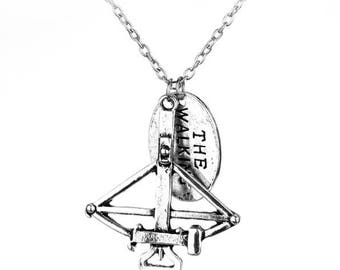 """WALKING DEAD ~ Darly Dixon Crossbow Double Pendent 24"""" Silver Necklace Horror Zombie Cosplay"""