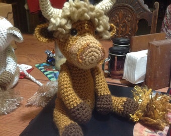 Bao the Cow, hand crocheted cow, Scottish Highlander