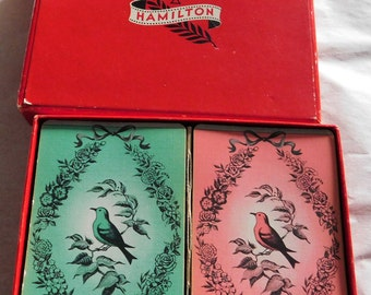 Vintage Hamilton Playing Cards 2 Deck Set Birds