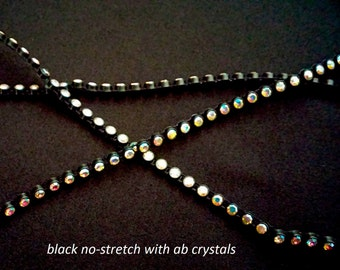 ab crystal/rhinestone trim on black settings--stretch and no-stretch
