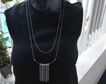 Boho Chic Vintage Burgundy Silver Necklace Bohemian Necklace, Boho Necklace, Bohemian Style, Hippie Necklace