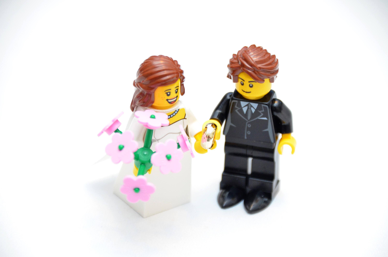 Custom Lego Minifigure Bridal Couple Wedding Bride Groom Favors Cake Toppers