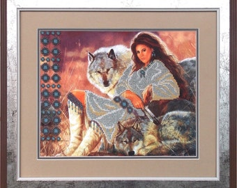 Devotion DIY bead embroidery kit Needlepoint beading Beaded painting set House warming gift idea