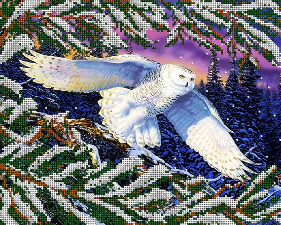 White Owl bead embroidery kit, embroidered beaded painting set, DIY wall decor, housewarming gift idea