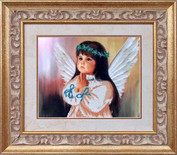 Little Angel Bead embroidery DIY beading kit Unique housewarming gift idea wall hanging, needlepoint craft set