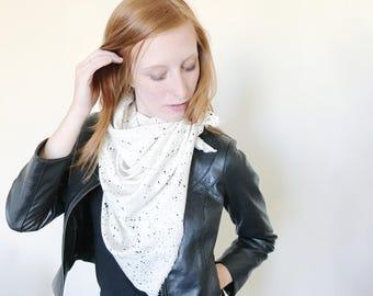 White Rose Gold Speckle Blanket Scarf