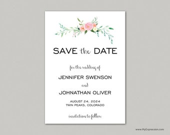 Watercolor Rose Bouquet Save The Date Card (9062) - INSTANT DOWNLOAD - Ready to Print - Editable PDF