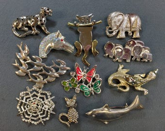 Eleven Animal Brooches-Elephants, Cats, Fish, Alligator, and More.  Free shipping
