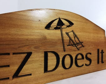 Personalized Beach Sign, Wood Carved Sign, Beach Chair, Beach Umbrella, Family Name Welcome Sign, Lakehouse Plaque, Custom Carved Sign