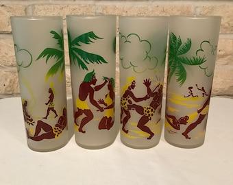 Vintage Federal Caveman Glass Set