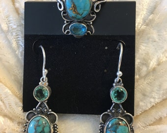 Vintage Style Santa Rosa Copper Turquoise Ring and Earrings set