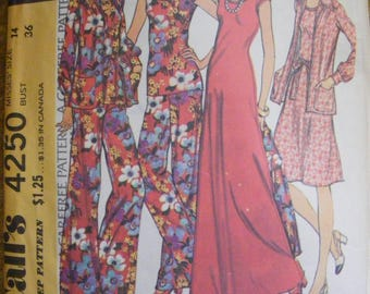 "1970's Vinage Misses' Dress / Top, Jacket and Pants Size 14 Bust 36"" McCall's Sewing Pattern 4250"