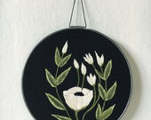 Hand Embroidered White Floral Wall Art Gallery Wall
