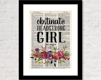Obstinate Headstrong Girl - Jane Austen - Pride and Prejudice  - Eco Friendly - Upcycled Dictionary Print -  Dictionary Page Art