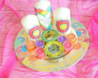 Multicolour rainbow Mendhi thaal candles Centrepiece Henna candle