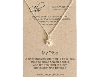 My Tribe Necklace - Silver Daisy Necklace Best Friend Gift Celebrate Friendship Love My Bride Tribe Jewelry Tribal Necklace Sorority Sister