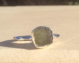 Moldavite Ring, Raw Stone Ring, US 8 Silver Gemstone Ring, Rough Natural Gemstone, Rough Moldavite Ring, Natural Gemstone Ring