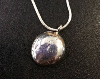 Solid silver round pendant on snake chain