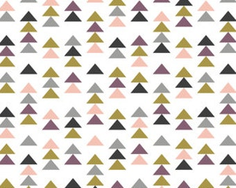 Modern Triangles in Blush Fitted Crib Sheet or Changing Pad Cover - Modern Nursery