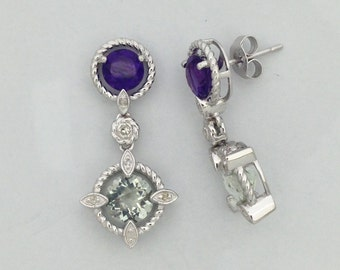 Natural Amethyst with Natural Diamond Dangle Earrings 925 Sterling Silver