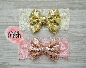 Sequin bow headband, sparkle bow headband, baby bow head wrap, big bow headband, lace bow headband, baby bow headband, baby girl big bow
