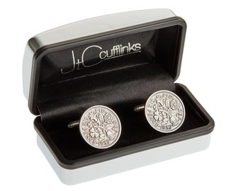 Mens 60th Birthday Gift Present in 2017 Vintage 1957 Sixpence Coin Cufflinks