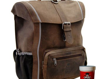 Boys' Satchel Backpack PESTALOZZI made of brown leather