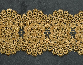 Metallic Lace Trim for Bridal, Costume or Jewelry, Crafts and Sewing, 3-5/8 Inch by 1 Yard, LP-MX-3454