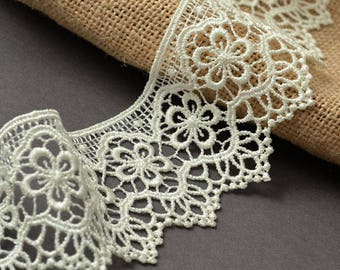 Vintage Guipure Venise Lace Trim, 2-1/8 Inch by 1 Yard, Brown, Maize, Beige, STEP-3819