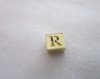 Vintage 14K solid Yellow Gold Monogram R Child's Block slide Charm or Pendant
