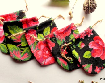 14 Small Rings Pouches Black Cotton Pouches Black pouch with Red Roses Cute Earrings Little Bags