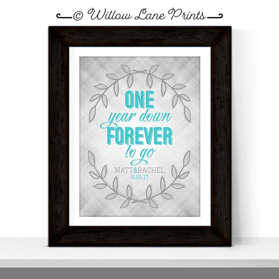 1 Year Anniversary Gifts For Husband Paper : First Anniversary Gift for Husband Wife Couple One Year Down Forever ...