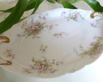 Antique Theodore  Haviland Limoges France Platter Apple Blossom Schleiger 146 12''