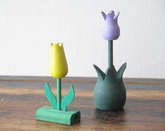 Vintage Swedish Wood Flowers Yellow Purple Wooden Tulips Set of 2 Handcrafted Scandinavian Home Decor Interior Spring Easter Decor @222