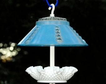 Hanging glass bird feeder - squirrel proof feeder - glass garden art bird feeder