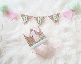 CAKE Bunting Flag Banner and Mini Party Hat Set for Cake Smash | Birthday Hat || Baby Party Hat | First Birthday Hat | Pink and Gold