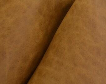 "Rustic Light Brown Leather Oil Tanned Cow Hide 8"" x 10"" Project Piece 5-6 oz DE-51913 (Sec.7,Shelf 5,A)"